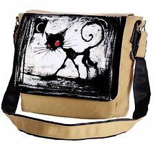 A Gothic Cat Red Eyes Messenger Cross-Body Shoulder Flap Bag