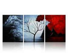 3 Piece Modern Art Abstract Painting Canvas Wall Red Framed Big Ready to Hang
