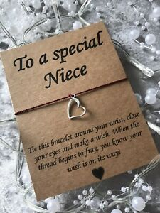 💜Special Niece Wish Bracelet Message Heart Charm Card Gift, Present💜