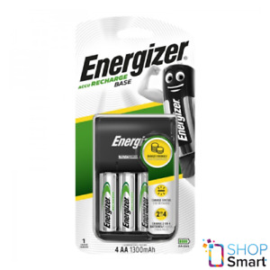 ENERGIZER ACCU RECHARGE BASE CHARGER FOR AAA AA & 4 AA 1300mAh BATTERIES NEW
