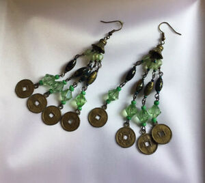 10cm Dangle Hook EARRINGS Green Beads And CHINESE Coin Token Disc