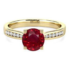 2.18CT Ruby Gemstone Diamond Rings Solid 14K Gold Ring Size N, P, M, O