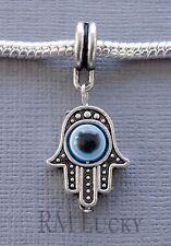 Hamsa Charm Pendant Hand eye Palm large hole Bead fits European Bracelets C117
