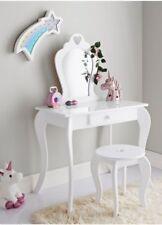 Children's Kids White Vanity Set Dressing Table Desk Chair Stool Mirror 1 Drawer
