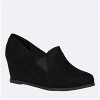 New Women's Cloudwalkers Black Faux Suede Wedges Wide Width 8 8.5 9 9.5 10 11