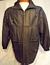 Mens Comint Leather Black Car Coat Jacket With Hood Size M