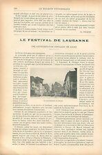 Pape Léon XIII /Festival de Lausanne Suisse / Alfred Roll GRAVURE OLD PRINT 1903