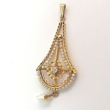 Art Nouveau 14K  Gold Diamond Seed Pearl Dangle Charm Pendant 1.4gr