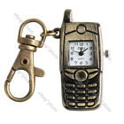 Antique Bronze Cell Phone Pocket Quartz Pendant Key Chain Ring Watch Gift