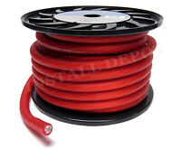 25 FT - RED PREMIUM 1/0 GAUGE POWER WIRE GROUND CABLE AMP WIRING OXYGEN FREE