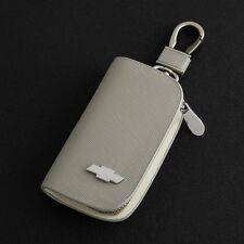 Elegant Cowhide Leather car key bag key ring key chain for CHEVROLET Gray
