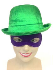 RIDDLER STYLE GREEN BOWLER HAT WITH PURPLE MASK MENS FANCY DRESS COSTUME OUTFIT