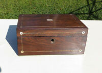 Small Antique Rosewood & Mother of Pearl (MOP) Jewellery/Workbox/Sewing Box