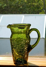 Vintage Rainbow Art Glass Green Crackle Pitcher Label