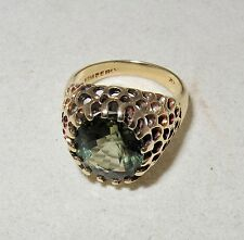 Vintage 14K Gold Unisex Ring with 6.75 Carat Green Tourmaline  (6.8g, size 6.5)
