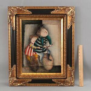 Original JOYCE ROYBAL Whimsical Genre Oil Painting, Children Riding Bicycle NR