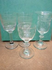 Four Victorian Antique Small  Glasses, Engraved