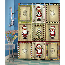Americana Country Christmas Santa Fabric Shower Curtain