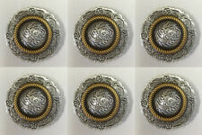 "Set of 6 Western Horse Saddle Tack Antique Engraved Gold Rope Edge Conchos 1"""