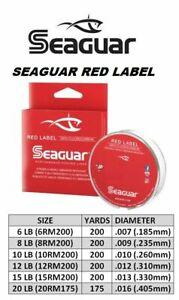 SEAGUAR RED LABEL 100%FLUOROCARBON FISHING LINE 4LB-20LB-175-200YDS