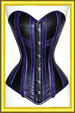 Beautifull & Stylish Over bust black & Purple Leather New High Quality Corset