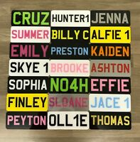 "9x3"" Childrens Personalised Plastic Name Number Plate Kids Ride On Electric Car"