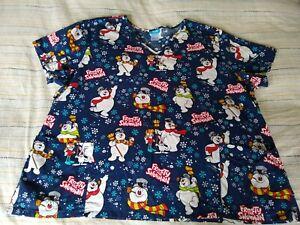 Frosty the Snowman Scrub Top Womens 3X Blue V Neck Pockets Cotton