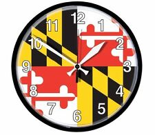 """Maryland State Flag Maryland Flag Wall Clock w/ built in hanger - 12"""""""