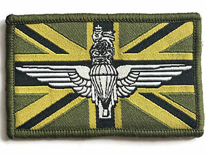 PARA WINGS UNION JACK PATCH sew on British military embroidered flag badge olive