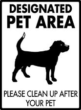 "Designated Pet Area - Clean Up After Pet Aluminum Dog Potty Sign - 9"" x 12"""