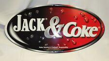 JACK & COKE Embossed Metal Wall Tacker Bar Promo Sign Jack Daniel's & Coca Cola