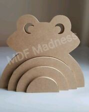 MDF CRAFT SHAPE. WOODEN 3D RAINBOW FROG STACKER 18MM FREE STANDING