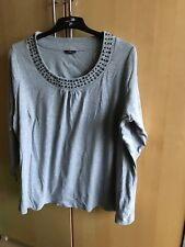 A SIZE 28 M&Co GREY SWEATSHIRT WITH BEADED NECKLINE