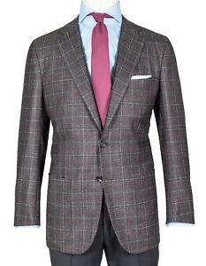 Kiton Jacket With Braun-Beigem Glencheck & Burgundy Overplaid Wool/Kashmir/Silk