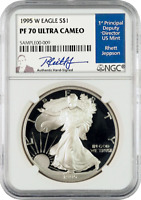 1995 - W American Silver Eagles PF 70 Ultra Cameo signed by Rhett Jeppson