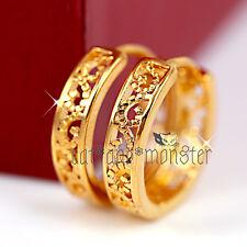 18k Plain Gold GF Filigree Sleeper Solid Womens Girls Hoop Huggies Gift Earrings