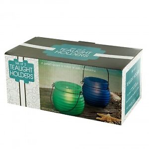 Colored Glass Tealight Candle Holders with Handles