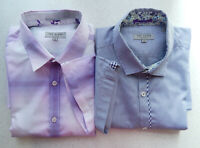 🔻2 Ted Baker White Purple Blue Check Size 4 Short Sleeve  Shirt