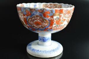 #9811: Japanese Old Imari-ware Flower Bird pattern Kashiki DESSERT BOWL/dish