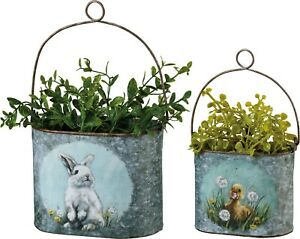 Primitives by Kathy Bunny and Duck Bucket Set with Metal Handle Spring