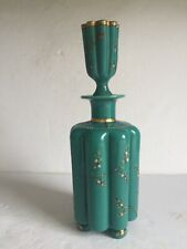 Rare Turquoise Opal French Moser Art Glass Enameled Cologne Bottle Lobed Footed