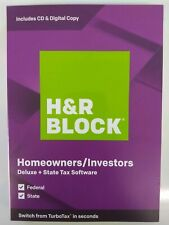H&R Block Deluxe Tax Software + State 2019, Traditional Disc, For PC/Mac