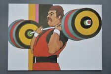 R&L Postcard: 1984 Los Angeles Olympics, Robert Peak, Weight Lifting