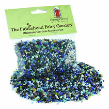 Blue Variegated Glass Pebbles - 8 oz for Miniature Garden, Fairy Garden