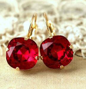 14K Yellow Gold Finish 3.80Ct Cushion Cut Red Ruby Diamond Drop Dangle Earrings