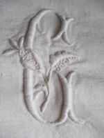 Antique French Dowry Trousseau Sheet Heavy Slubby Linen 82 x 108 inches GG mono