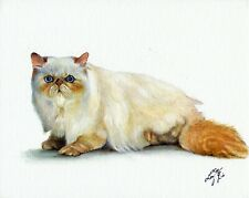 Original Oil Cat Portrait Art Himalayan Red Point Painting Artist Signed Artwork