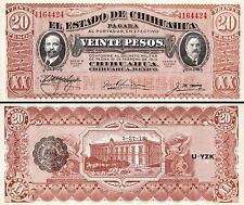 MEXICO 20 PESOS 1914 1915 UNC EL ESTADO DE CHIHUAHUA P.S537 REVOLUTION BANKNOTE