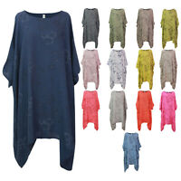 Ladies Plus Size Top Women Italian Lagenlook Tunic Cotton Floral Long Dress
