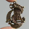 48MM Curio Chinese Bronze Animal Lucky Dragon Boat Ship Wealth Small Pendant一帆风顺